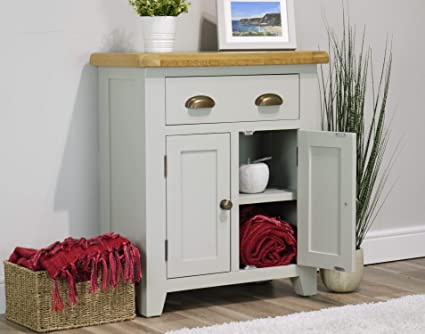 Arklow Painted Oak Dovetail Grey Mini Sideboard Living Room Storage