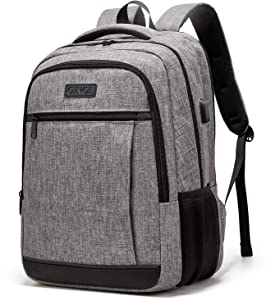 QINOL Travel Laptop Backpack Water-Proof Anti-Theft School Bag with USD Hub for 15.6 Inch Computer, Ultralight Business Bag, 5 Color (Grey)