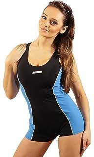 ba60784821df Damen Badeanzug mit Bein Schwimmanzug Hotpants mit Schwimmerrücken SK0028
