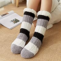 Women Warm Socks Non-Slip Stockings Stripes Winter Soft Cute Thick Floor Socks House Slippers