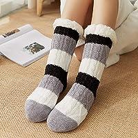 Women Warm Socks Non-Slip Stockings Stripes Winter Soft Cute Thick Floor Socks House Slippers
