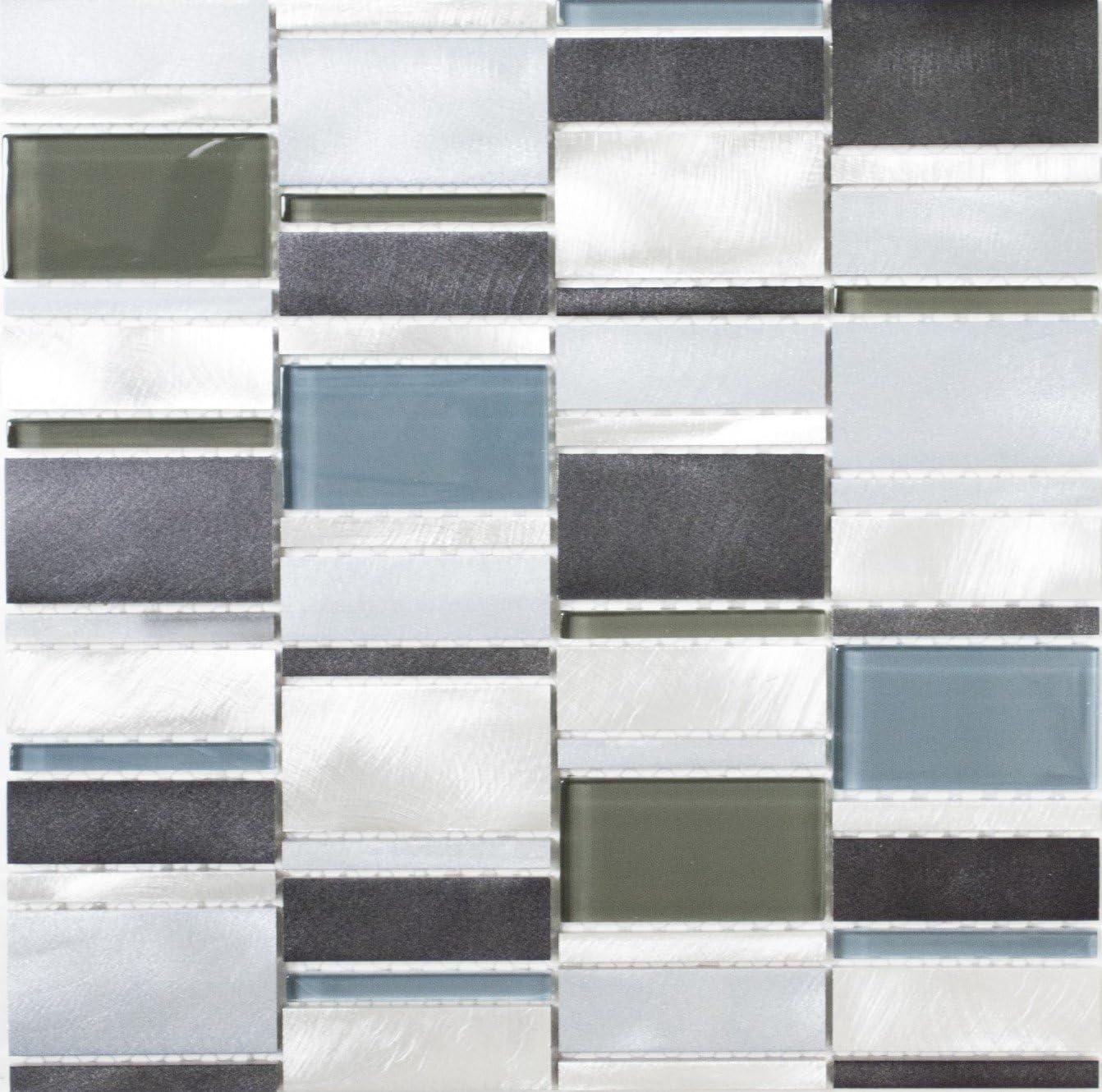Glasmosaik Carrelage Métal mosaïque alu alumnium mosaïque bleu