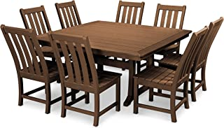 product image for POLYWOOD Vineyard 9-Piece Dining Set (Teak)