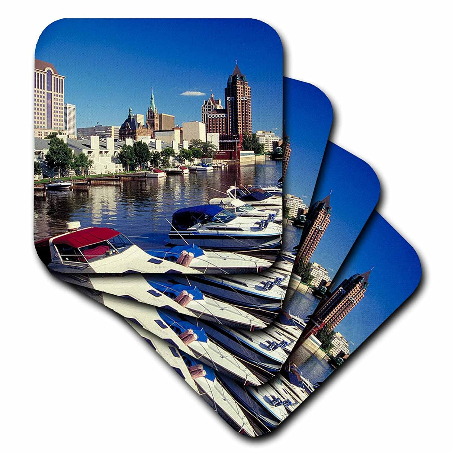 Set of 4 3dRose cst/_41222/_1 Boating in Milwaukee Soft Coasters