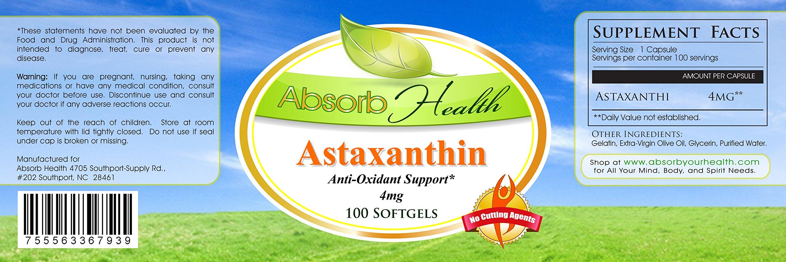Astaxanthin | 100 Softgels 4mg | Powerful Antioxidant | Powerful Immune Booster