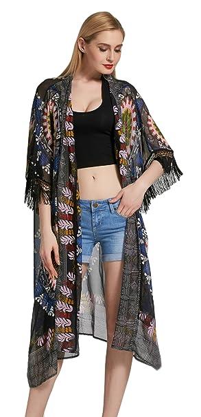 V-SOL Chaqueta de Playa Mujer Kimono con Borlas Blusa Bohemia Busto 152CM Negro