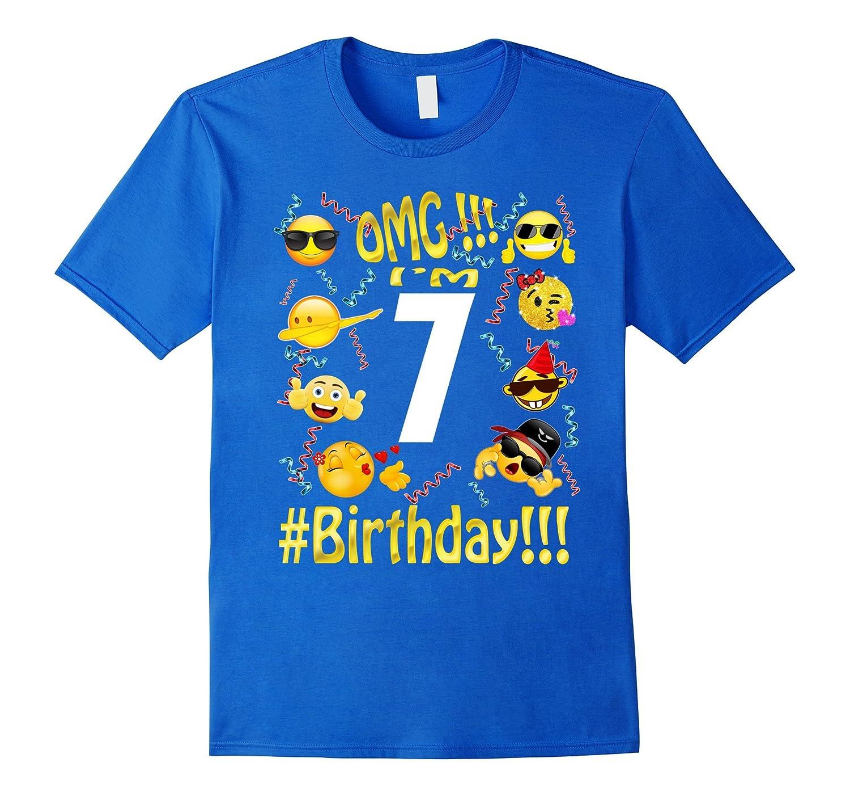 Emoji Birthday Shirt For 7 Seven Year Old Girl Boy Party BN