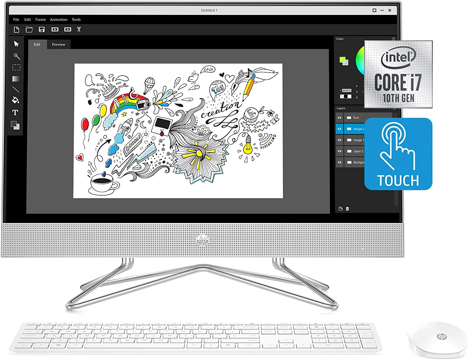 HP 24-inch All-in-One Touchscreen Desktop Computer, Intel Core i7-1065G7 Processor, 16 GB RAM, 512 GB SSD, Windows 10 Home (24-dp0180, Silver)