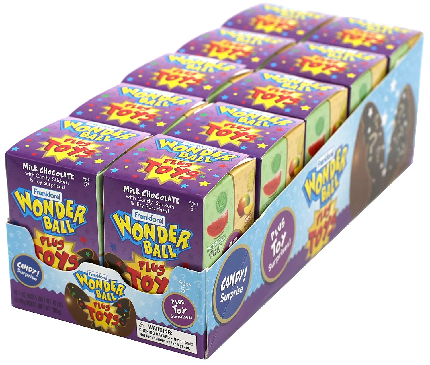 Frankford Candy Company Wonder Ball with Toy Monster, Milk Chocolate, 1 Ounce (Pack of 10)