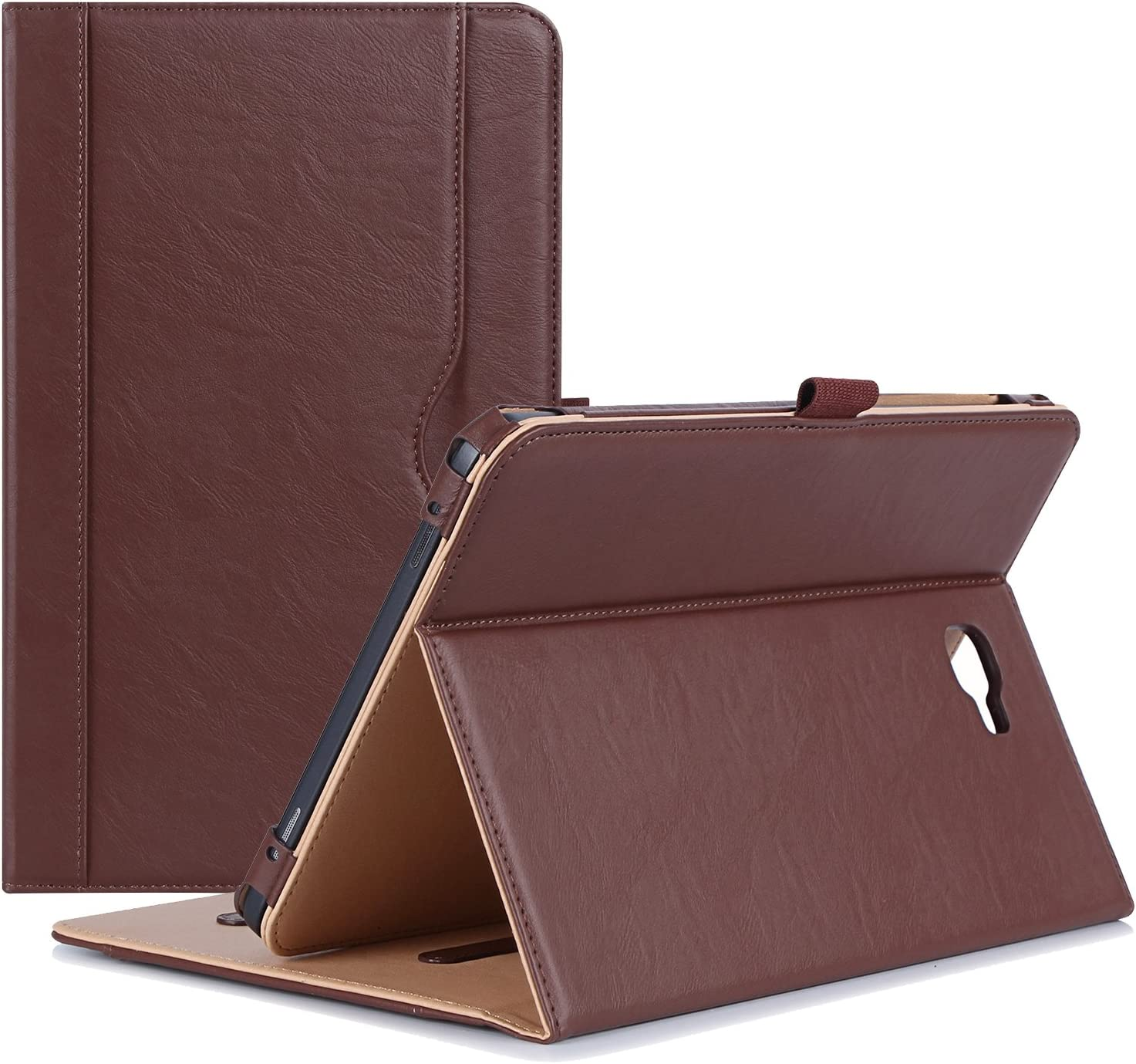 """ProCase Galaxy Tab A 10.1 Case 2016 Old Model, Stand Folio Case Cover for Galaxy Tab A 10.1"""" Tablet SM-T580 T585 T587 (NO S Pen Version) with Multiple Viewing Angles, Card Pocket -Brown"""