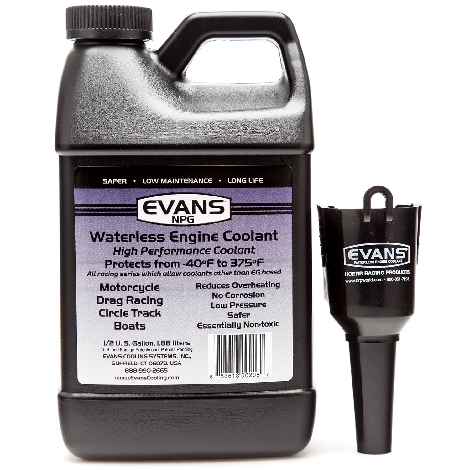 Evans EC10064 Waterless Race Track Specialty Coolant (NPG), 64 fl oz., 4 Pack With Funnel EC10064-4PK