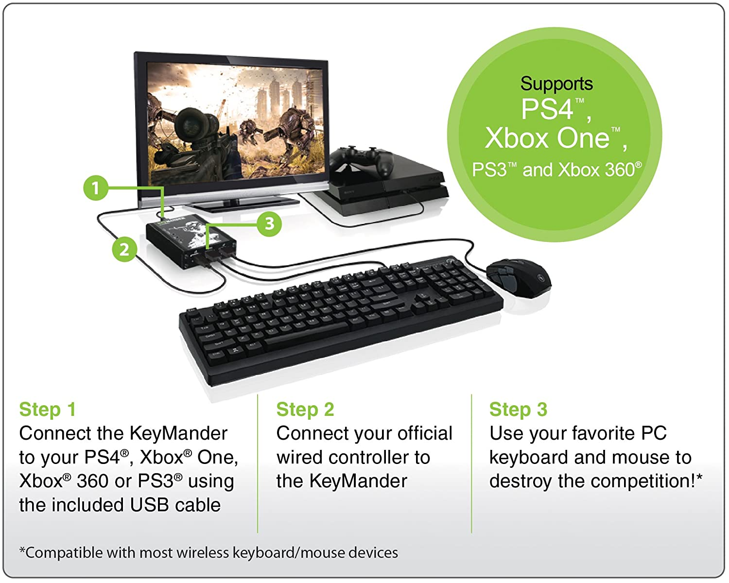 IOGEAR KeyMander Wireless Keyboard and Mouse Adapter Bundle for Xbox One,  PS4, PS3, Xbox 360 (GE1337PKIT)
