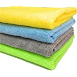 SOBBY Microfibre Cleaning Cloth - 40 cm x 40 cm - 340 gsm, ( Multicolor, Pack of 4)