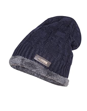 Krystle Wool Cotton Warm Winter Hat Knit Cap for Men and Women (Navy Blue)   Amazon.in  Clothing   Accessories e6558735ad2