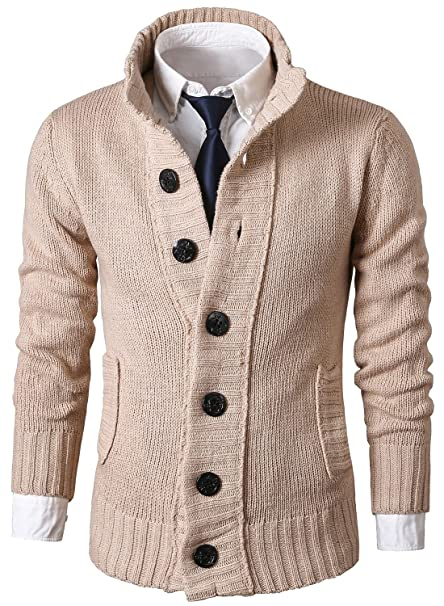 ef9a733de9 Image Unavailable. MIEDEON Mens Casual Stand Collar Cable Knitted Button  Down Cardigan Sweater ...
