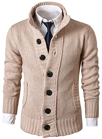14490cef812 MIEDEON Mens Casual Stand Collar Cable Knitted Button Down Cardigan Sweater