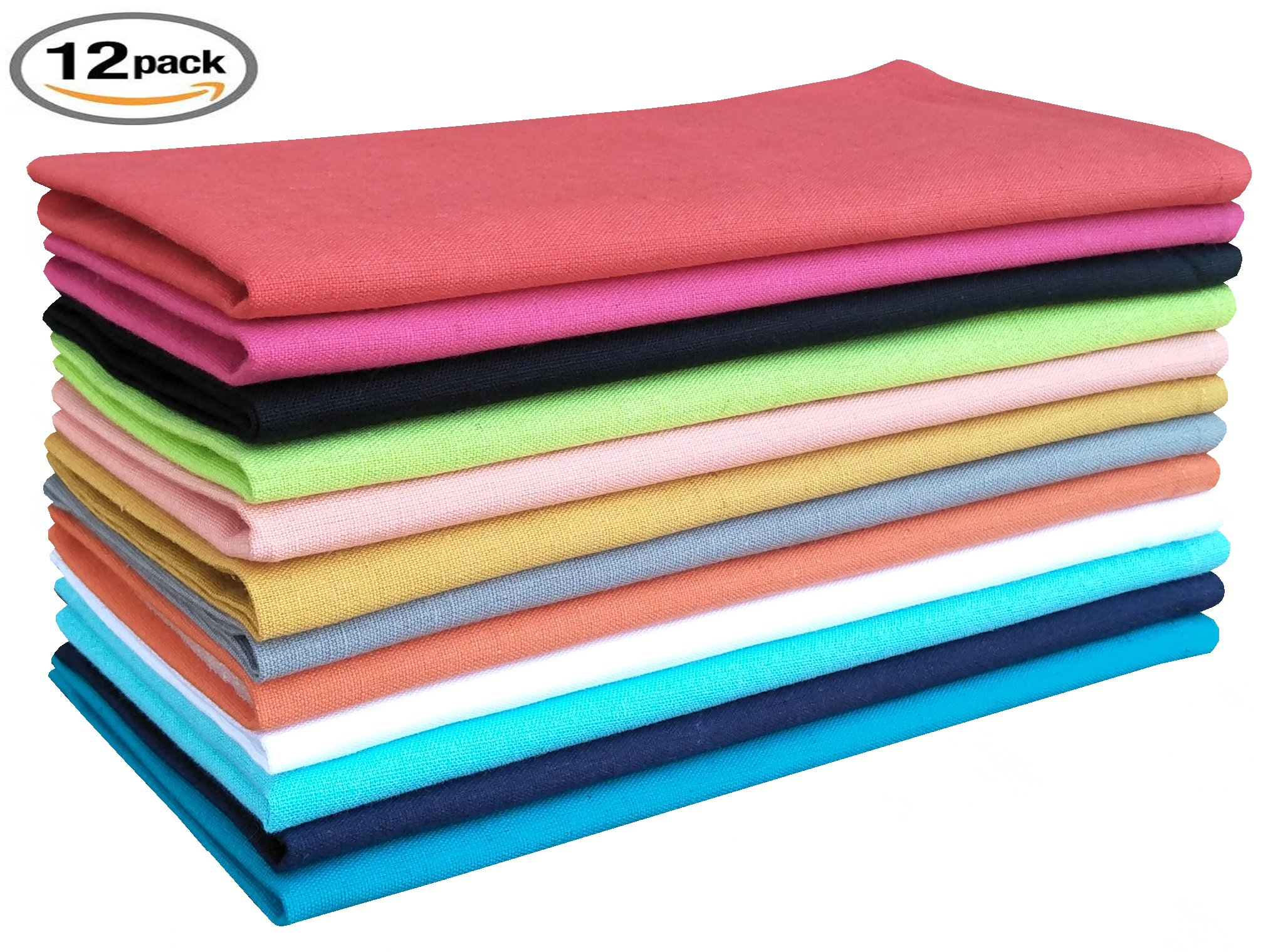 Flax cotton solid color oversized Dinner Napkins used in cocktail,birthday ,wedding party or any special dinner & every day use as well. Size 19x19 Multi color set of 12 Pieces , Tailored with Mitered