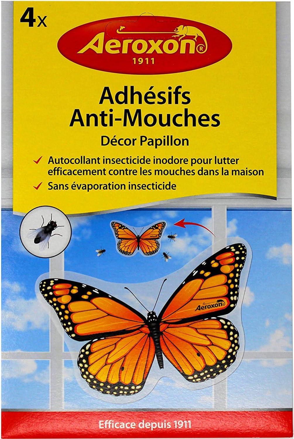 AEROXON - Mata moscas insecticida Juego de 4 insecticidas adhesivas para ventanas