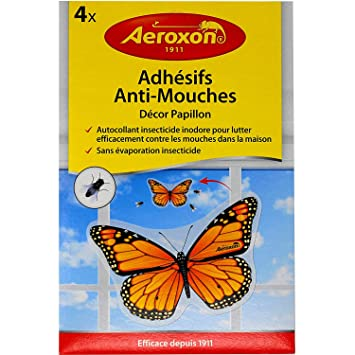 Aeroxon window fly killer kills flies on contact insecticide adhesive stickers pack of 4 adhesives