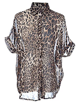Anna-Kaci S/M Fit Brown Cheetah Print Wild Fierce Urban Button Down Shirt Top