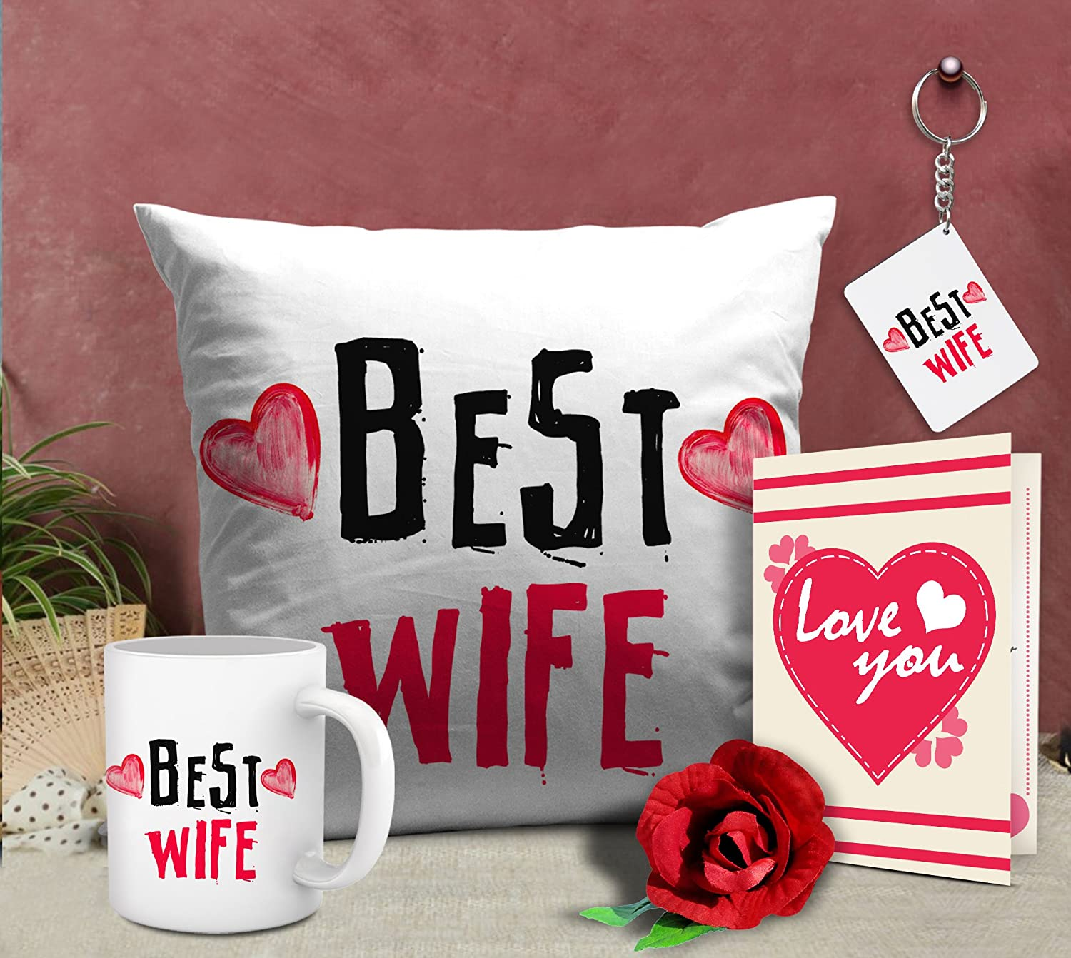 Buy Tied Ribbons Romantic Valentines Gifts Best Wife Gift Combo (Cushion,  Coffee Mug, Keyring, Rose With Greeting Card) Online At Low Prices In India  ...