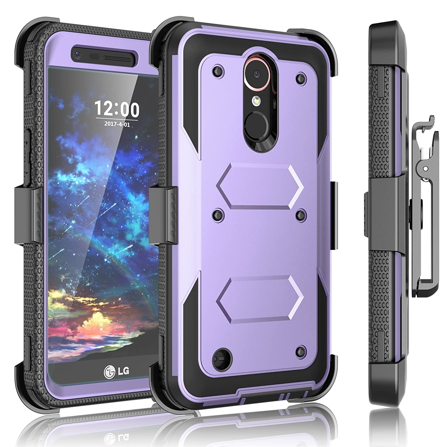 LG K20 Plus Case, LG K20 V Holster, LG Harmony/LG V5 / LG K10 2017 Case Clip, Tekcoo [TShell] [Built-in Screen Protector] Locking Secure Swivel Belt Kickstand Phone Full Body Case Cover -Lavender