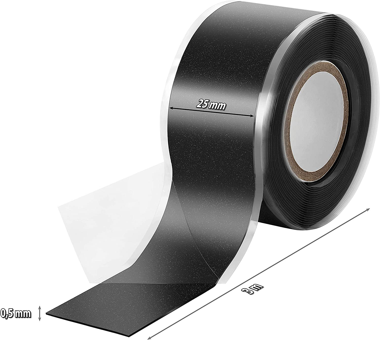 auto amalgamant 1x 11m Ruban en silicone auto-agrippante ruban isolant et bande d/étanch/éit/é Poppstar eau, air noir blanc tachet/é 25 mm de large