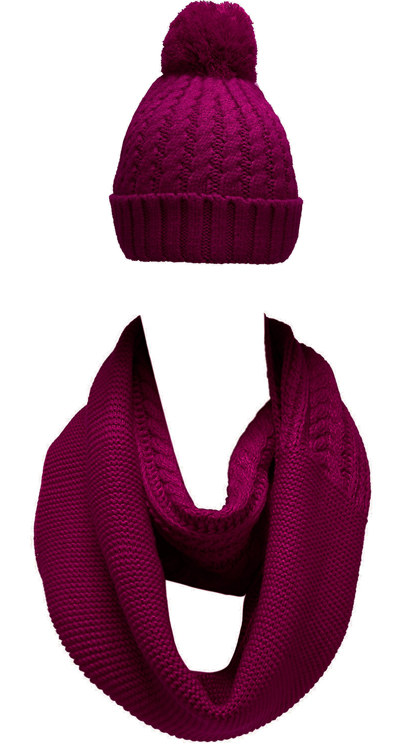 NEOSAN Women Winter Thick Knit Infinity Loop Scarf And Pom Pom Hat Set Crochet Plum
