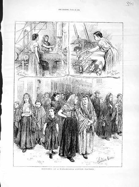 Viejo Original antiguo impresión frelan 1872 Manchester fábrica de algodón en la industria: Amazon.es: Hogar