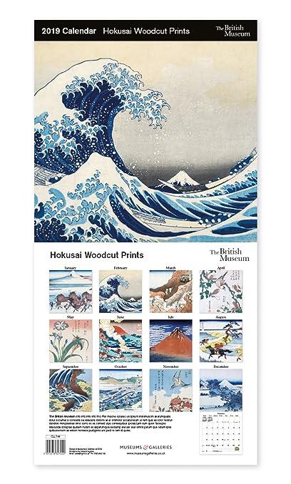 Museums & Galleries – El Museo Británico – Hokusai Woodcut Prints grande 12 meses 2019 Calendario colgante de pared para el hogar, oficina, escuela