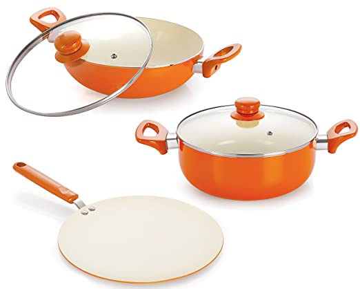 Nirlon Ceramic Cookware Set, 3-Pieces, Orange (CC_CT_DKD24_Cas20) Pot & Pan Sets at amazon