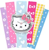 Hello Kitty Children's Quartz Watch with White Dial Analogue Display and Multicolour Strap HK028