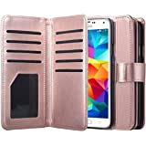 Samsung Galaxy S5 Case, S5 Neo Wallet Jwest Premium Leather Folio Case [Wallet Function] Magnetic Fashion Wristlet Lanyard Ha