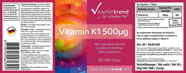 vitamina K1 altamente dosificada - vegana - 180 tabletas - muy importante en el metabolismo óseo: Amazon.es: Salud y cuidado personal