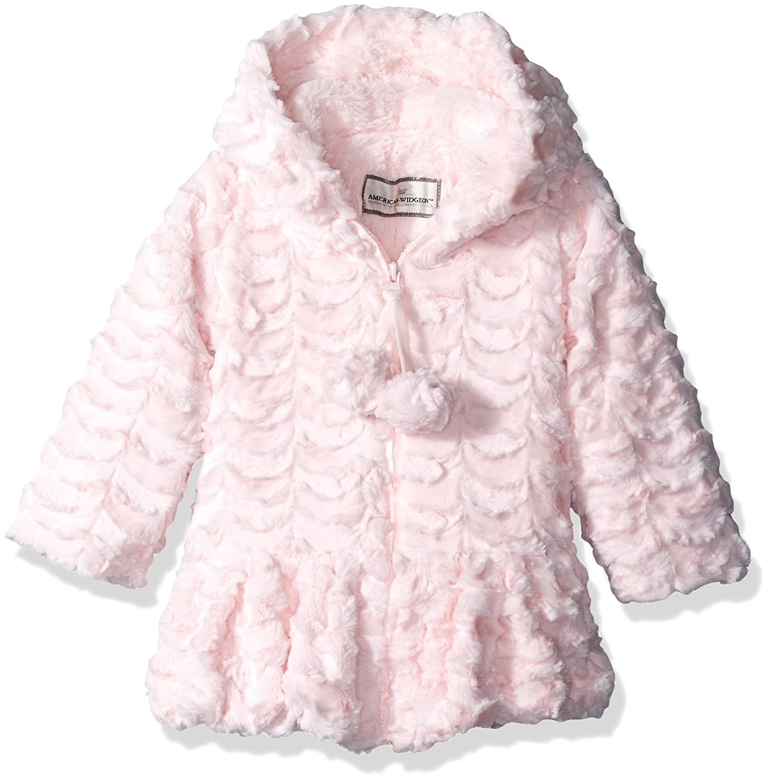 Widgeon Girls' Faux Fur Hooded Pompom Flounce Coat Widgeon Children' s Apparel 3623