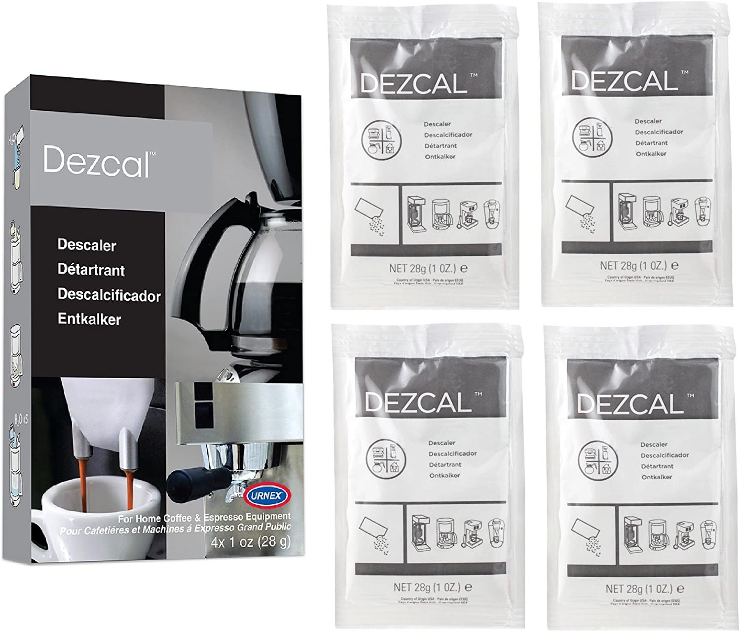 Urnex Dezcal Coffee and Espresso Descaler and Cleaner - 4 Uses - Activated Scale Remover Use with Home Coffee Brewers Espresso Machine Pod Machine Capsule Machine Kettles Garmet Steamers 8153c8WXWdL