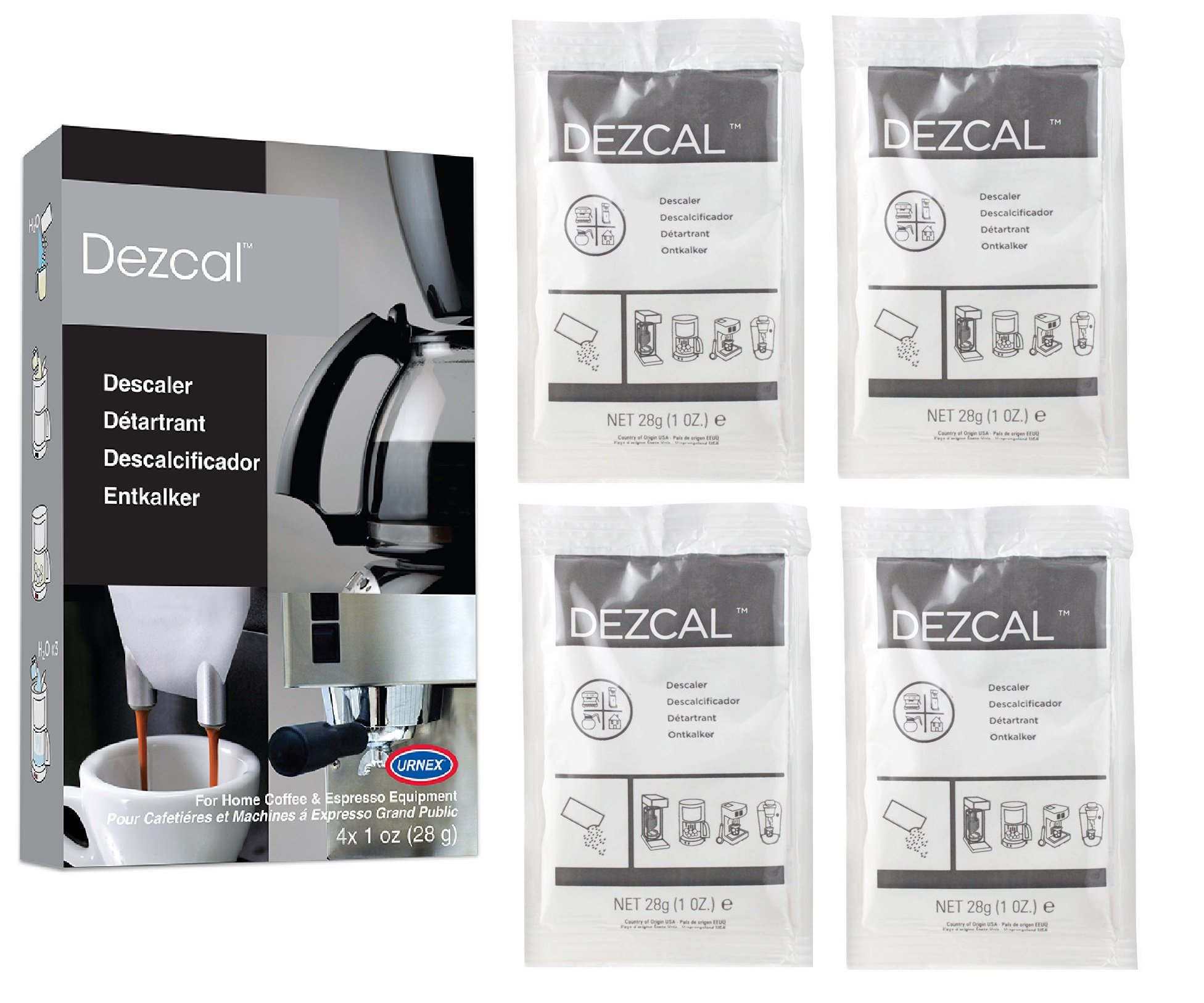 Urnex Dezcal Coffee and Espresso Descaler and Cleaner - 4 Uses - Activated Scale Remover Use
