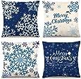 CDWERD 4PCS Christmas Pillow Covers 18×18 Inches Blue Christmas Pillow Covers Snowflake Merry Christmas Pillow Cases Cotton Linen Decorative Pillowcase Sofa Cover