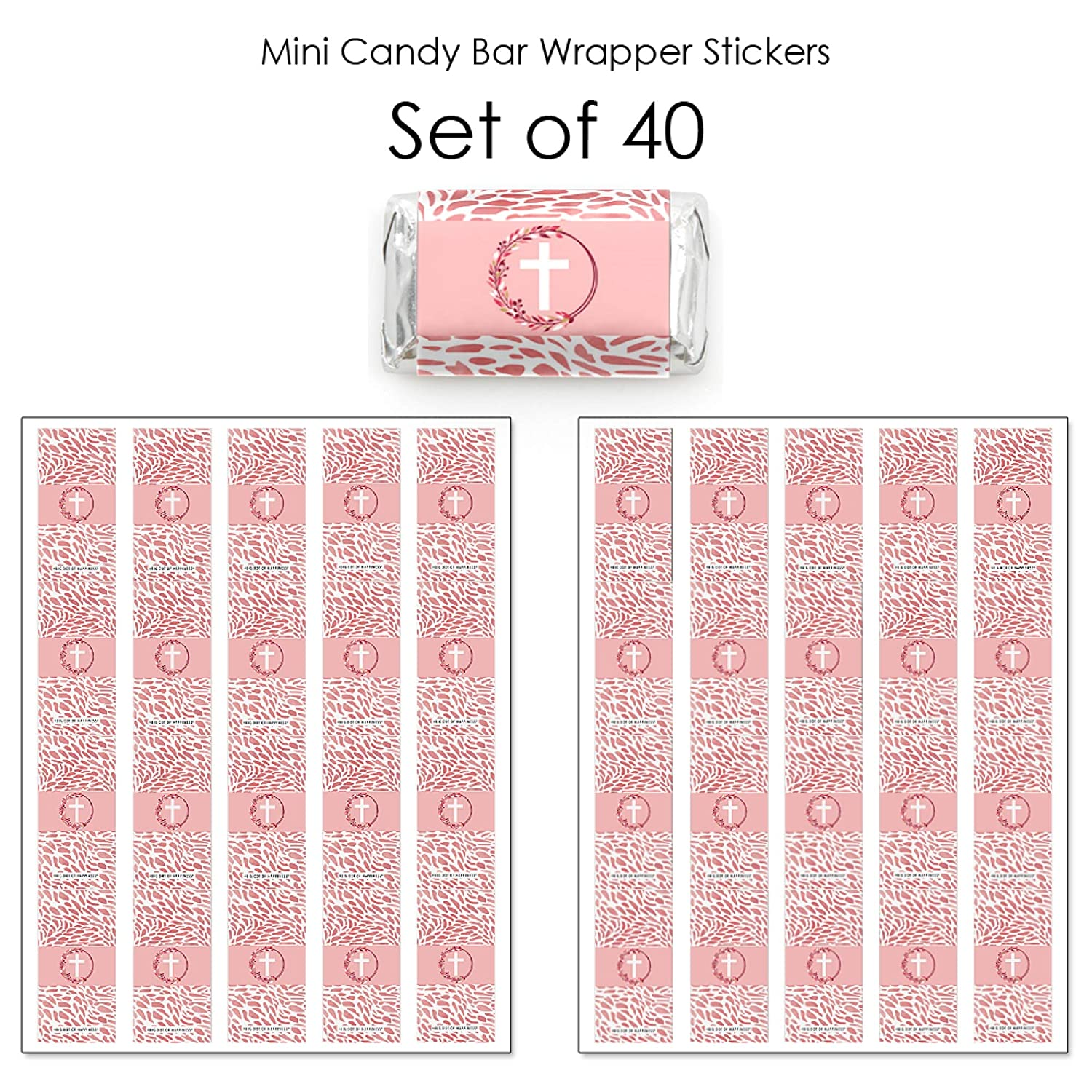 Big Dot of Happiness Pink Elegant Cross 40 Count Mini Candy Bar Wrapper Stickers Girl Religious Party Small Favors