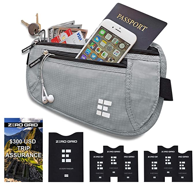 Zero Grid Money Belt w/RFID Blocking - Concealed Travel Wallet & Passport Holder, Ash best travel belts