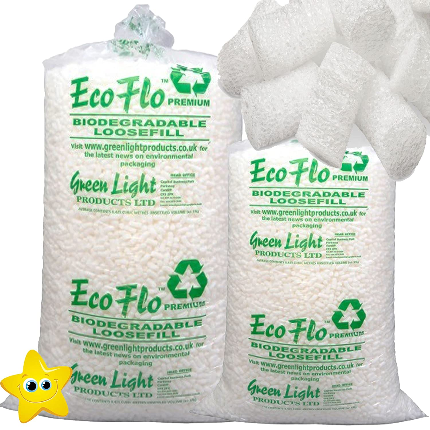 15 Cubic Eco-Flo Biodegradable Loosefill Polystyrene Chips/Packing Peanuts/Protection STAR SUPPLIES