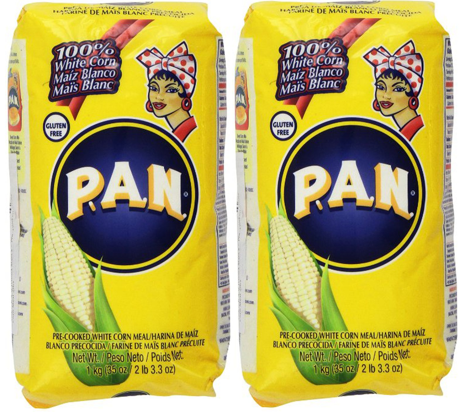 P.A.N Harina Blanca - Pre-cooked White Corn Meal 2LB. 3.3 Oz (Pack