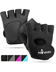 Proworks Ladies Fingerless Gym Gloves | Padded Weight Lifting Gloves for Women - Ideal as Cycling Gloves or for Lifting, Training, CrossFit, Rowing, Yoga & More