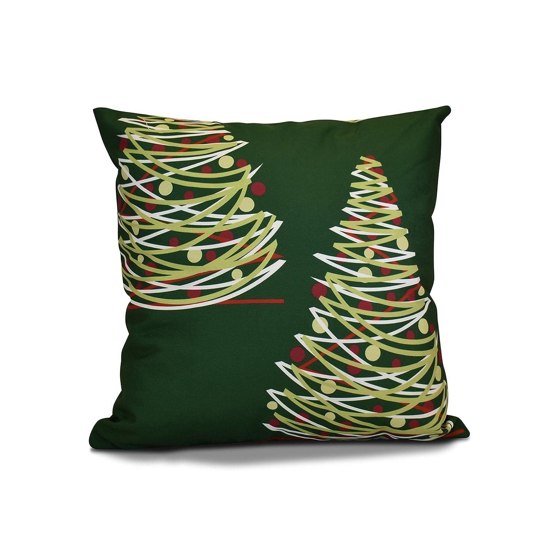 E by design 16 x 16-inch, O Tannenbaum Pillow, Green