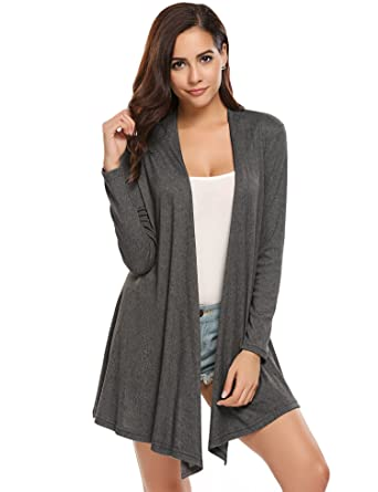 a304a97346 Beyove Women s Casual Batwing Sleeve Open Front Tassel Hem Lightweight Knit  Cardigan Sweaters (a-