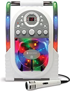 Singing Machine Portable Vertical Load CDG Player with Disco Effect, White