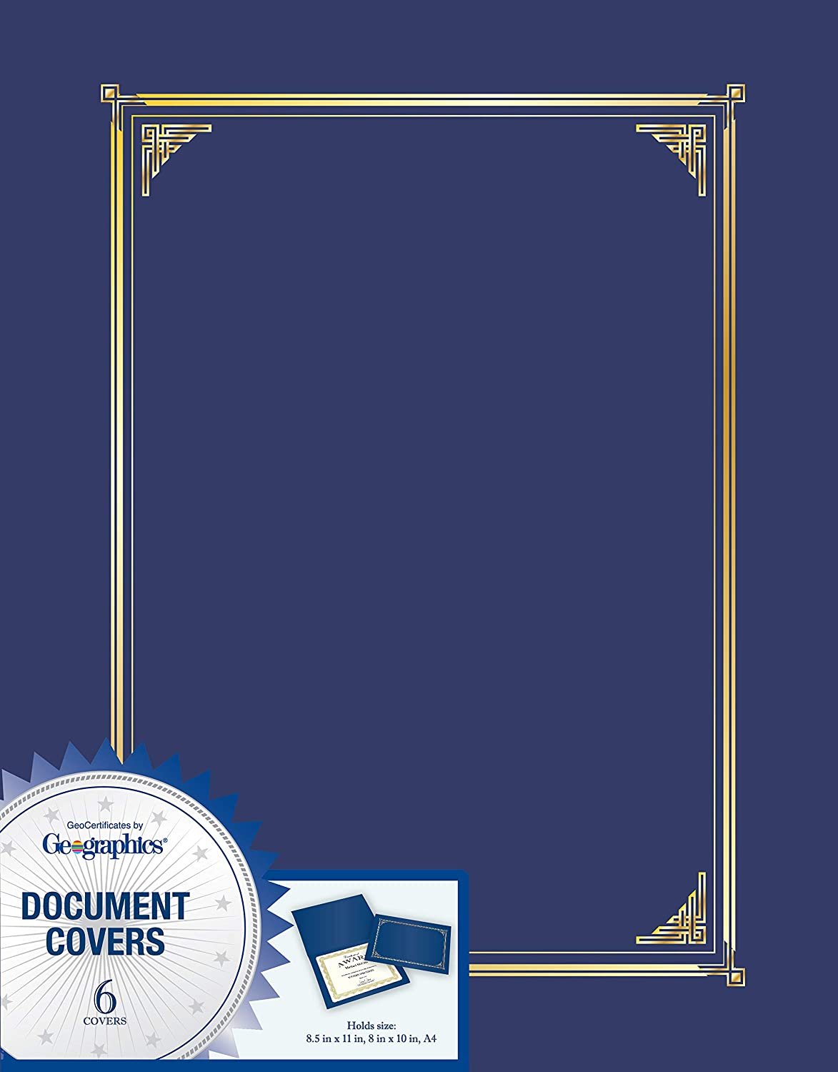 Geographics Document Covers, Certificate Holders, Diploma Holders, Navy Blue, Gold Foil Accents, 9.75 in x 12.5 in, Set of 6 (45332H)