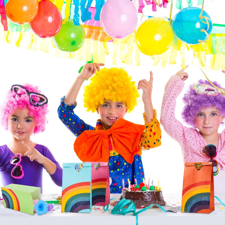 Herefun 48 Piezas Bolsa de Fiesta Arco Iris Papel Regalo Bolsas con Pegatinas 8 Colores Bolsa de Regalo Peque/ña Fiesta de Cumplea/ños Favores Bolsas Bolsas de Cumplea/ños Infantil