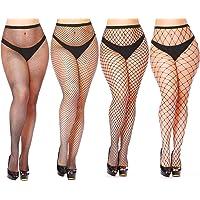 Womem's Sexy Black Fishnet Tights Plus Size Net Pantyhose Stockings