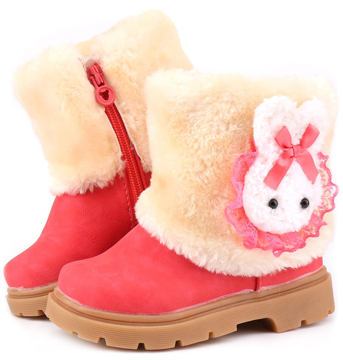 Femizee Baby Girls Infant Toddler Winter Fur Shoes Rabbit Snow Boots 9-72 Months